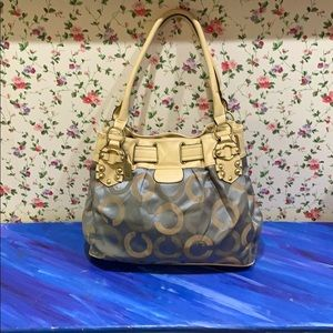 Large Coach Classic Pattern Grey and Cream Bag